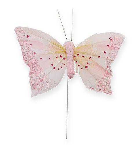 Deko-Schmetterling am Draht Pastell 8cm 12St