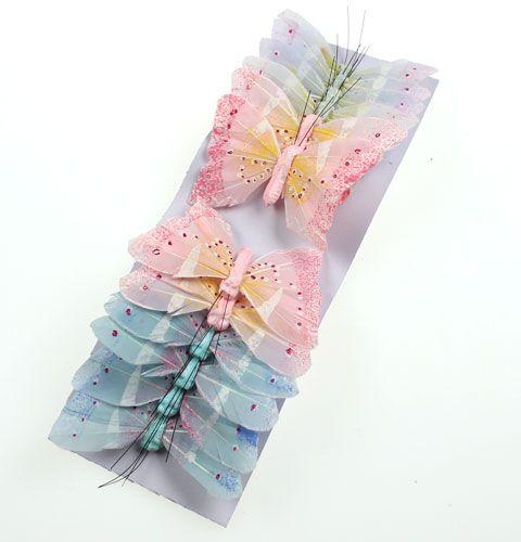 Deko Schmetterling Am Draht Pastell 8cm 12st Preiswert