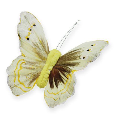 Deko-Schmetterling am Draht Gelb 8cm 12St