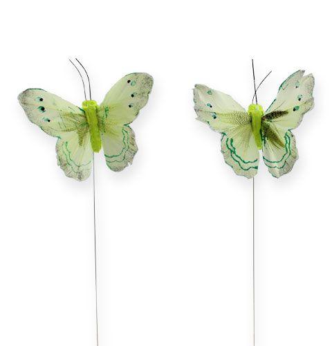 Deko-Schmetterling am Draht Grün 8cm 12St