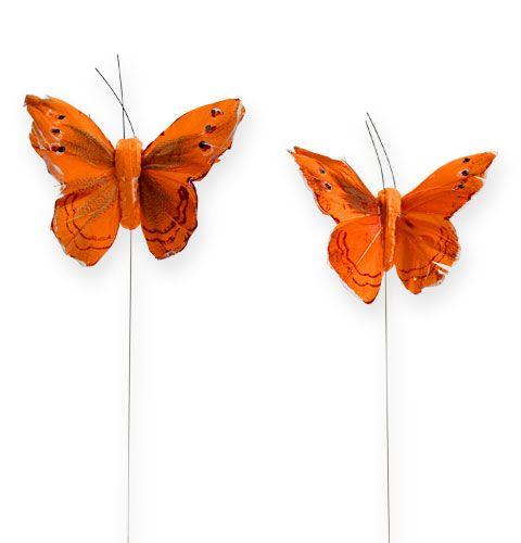 Deko-Schmetterling am Draht Orange 8cm 12St