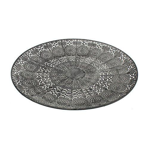 Deko teller orientalisch grau 35cm preiswert online kaufen - Christbaumkugeln grau ...