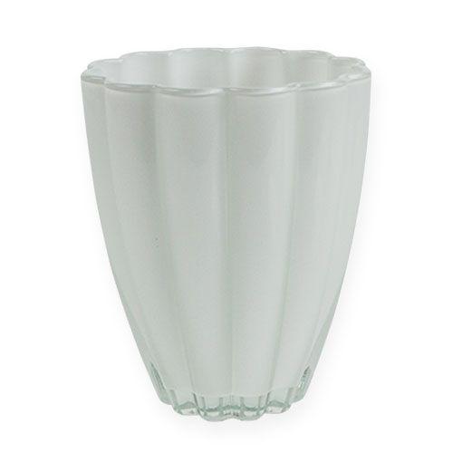 """Glasvase """"Bloom"""" Weiß Ø14cm H17cm"""