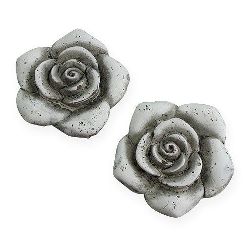 Deko-Rosen Grau 10cm 4St preiswert online kaufen