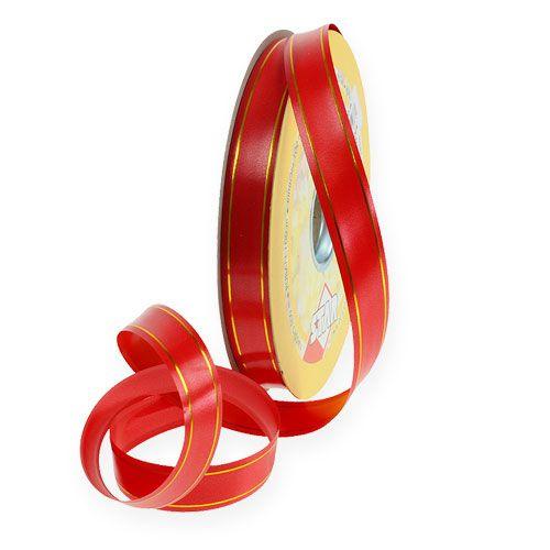 Geschenkband 2 Goldstreifen auf Rot 19mm 100m