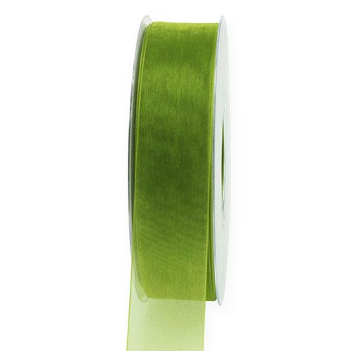 Organzaband Moosgrün 2,5cm 50m
