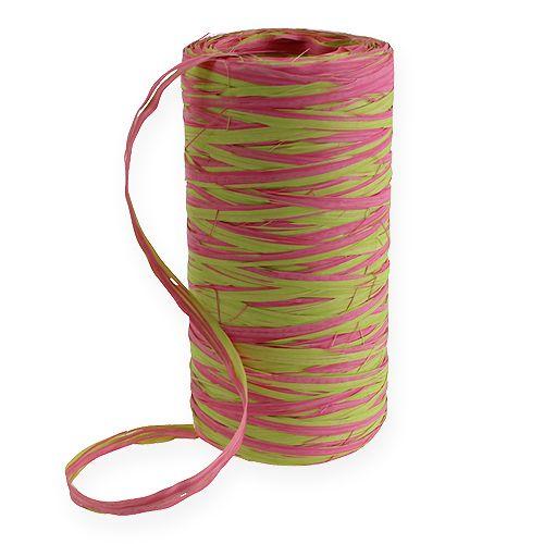 Raffia-Band Bicolor Apfelgrün-Rosa 200m