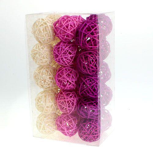 rattanball flieder lila gebleicht 4 5cm 30st preiswert online kaufen. Black Bedroom Furniture Sets. Home Design Ideas