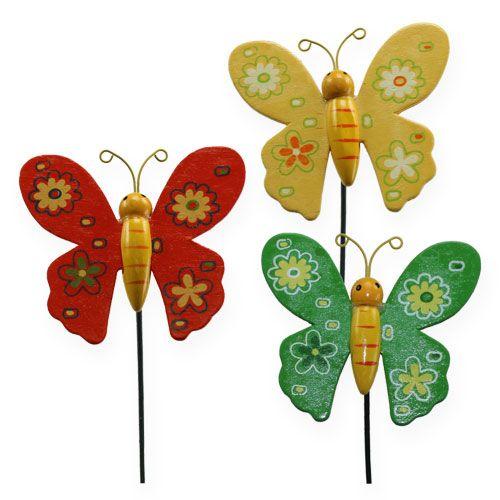 Bunte Schmetterlinge am Stab 7cm 24St