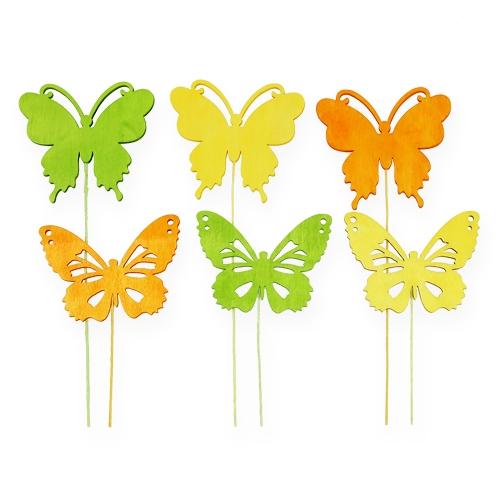 Deko-Schmetterlinge am Draht 3-farbig 8cm 18St