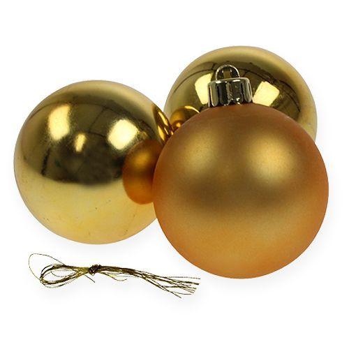 Weihnachtskugel Plastik Gold 6cm 12St