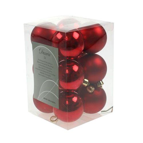 Weihnachtskugel Plastik Rot Ø6cm 12St
