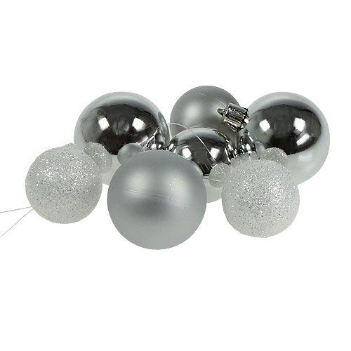 Weihnachtskugeln Weiß Silber.Weihnachtskugel Plastik Weiß Silber 3 5 4 5cm 30st