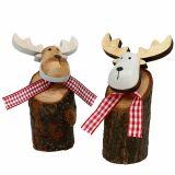 Elch aus Holz mit Schal 8,5cm 6St