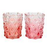 Glasteelicht Ø7cm H8cm Rosa, Pink 2St