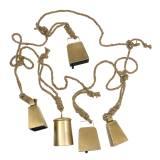 Kuhglocken-Set zum Hängen Messing Metall 8,2/9,5cm Seil 240cm