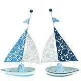 Deko Segelboot aus Metall Blau, Weiß 12,5cm x 20,5cm 2St