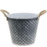 Zinktopf Raute mit Seilgriffen Grau weiß gewaschen Ø25cm H21cm