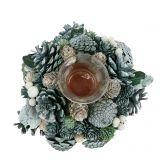 Tischdeko Zapfenkranz mit Teelicht Grün Ø20cm