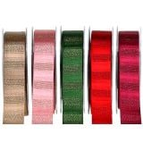Weihnachtsband mit Goldfäden farbig 25mm 20m