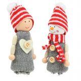 Weihnachtsdeko Figuren 10cm Grau, Rot 6St