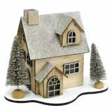 Weihnachtshaus mit LED-Beleuchtung Natur, Glitter Holz 20×17×15cm