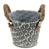 Zinktopf Raute mit Seilgriffen Grau weiß gewaschen Ø14cm H13cm 4St