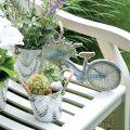 Dekotopf aus Metall, Pflanztopf mit Blumenmuster, Metallgefäß zum Bepflanzen Ø20,5cm