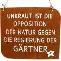 """Gartenschild mit Spruch """"Unkraut"""" Rost Deko Garten 35×30cm"""