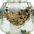 Grablicht Glas mit Rosenmuster 14cm x 14cm H27cm 2St