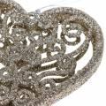 Christbaumschmuck Herz Champagner Glitter 10cm 12St