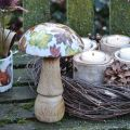 Holzpilz Deko Herbstlaub Weiß, Bunt Pilz Tischdeko Ø10cm H15cm