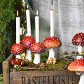 Kerzenhalter Fliegenpilz Rot, Weiß Für 4 Stabkerzen 28,5×17×16cm