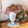 Shabby Chic Pokal Metall Tischdeko Weiss Gewaschen Ø18-5 H29cm