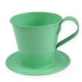 Deko-Tasse mit Teller Pastellgrün Ø9cm H8cm