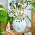 Vase mit Gesicht Creme, Beige H18cm Steingutoptik 1St