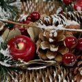 Weihnachtskranz mit Deko-Früchten beschneit Ø33cm